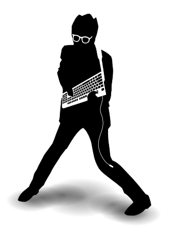 "The ""Frets on Fire"" mascot. Described by the developers as an ""Elvis Costello look-a-like posing with keyboard"""